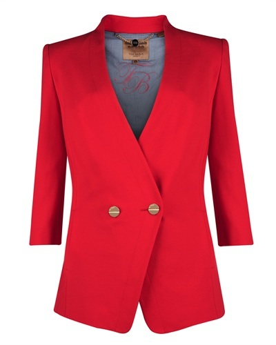 Ted Baker Rufia Double Button Jacket - pattern: plain; style: single breasted blazer; collar: round collar/collarless; predominant colour: true red; occasions: evening, work, occasion, creative work; length: standard; fit: tailored/fitted; fibres: cotton - stretch; sleeve length: 3/4 length; sleeve style: standard; collar break: medium; pattern type: fabric; texture group: woven light midweight; trends: hot brights; season: s/s 2013