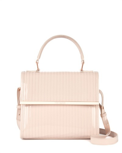 Ted Baker Suno Quilted Mini Tote Bag - predominant colour: blush; occasions: casual, creative work; type of pattern: standard; style: structured bag; length: across body/long; size: standard; embellishment: quilted; pattern: plain; finish: patent; material: pvc; season: s/s 2013