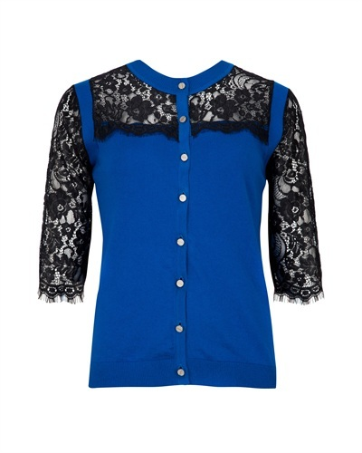 Ted Baker Gwuna Lace Cardigan - neckline: round neck; pattern: plain; predominant colour: royal blue; secondary colour: royal blue; occasions: casual, evening, work, creative work; length: standard; style: standard; fibres: cotton - mix; fit: standard fit; sleeve length: half sleeve; sleeve style: standard; texture group: knits/crochet; pattern type: knitted - fine stitch; embellishment: lace; season: s/s 2013; wardrobe: highlight; embellishment location: neck, shoulder, sleeve/cuff