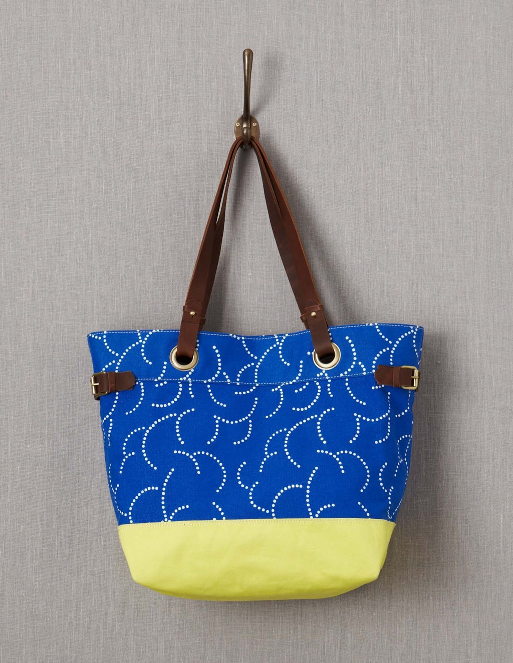 Blighty Beach Bag - predominant colour: royal blue; secondary colour: primrose yellow; occasions: casual, holiday; type of pattern: standard; style: tote; length: handle; size: oversized; material: fabric; finish: plain; pattern: patterned/print; season: a/w 2015