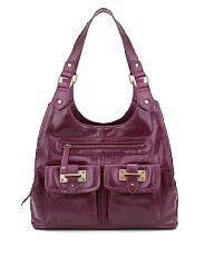 M&S Collection Leather Bar Tab Hobo Bag - predominant colour: aubergine; occasions: casual, work; style: shoulder; length: shoulder (tucks under arm); size: standard; material: leather; pattern: plain; finish: plain; season: a/w 2013