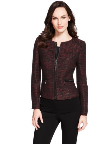M&S Collection Faux Leather Trim Tweed Jacket - style: single breasted blazer; collar: round collar/collarless; pattern: herringbone/tweed; predominant colour: burgundy; secondary colour: black; occasions: casual, evening, work, occasion; length: standard; fit: tailored/fitted; fibres: polyester/polyamide - 100%; sleeve length: long sleeve; sleeve style: standard; collar break: high; pattern type: fabric; pattern size: light/subtle; texture group: tweed - light/midweight; season: a/w 2013