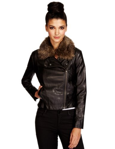 Limited Edition Faux Fur Trim Biker Jacket - pattern: plain; style: biker; collar: asymmetric biker; secondary colour: stone; predominant colour: black; occasions: casual, evening; length: standard; fit: straight cut (boxy); fibres: polyester/polyamide - 100%; sleeve length: long sleeve; sleeve style: standard; texture group: leather; collar break: high/illusion of break when open; pattern type: fabric; embellishment: fur; season: a/w 2013; wardrobe: basic; embellishment location: neck