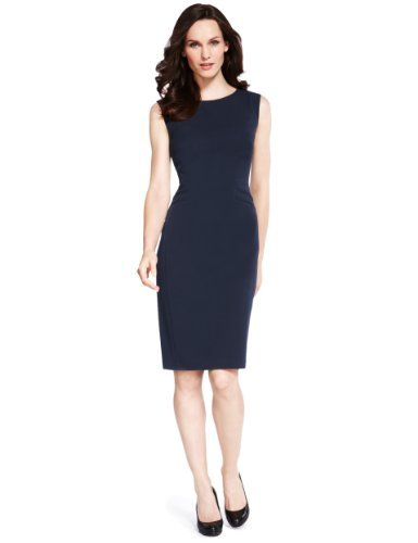 M&S Collection Double Welt Pocket Dress - style: shift; pattern: plain; sleeve style: sleeveless; predominant colour: navy; occasions: casual, evening, work, occasion; length: just above the knee; fit: body skimming; fibres: polyester/polyamide - stretch; neckline: crew; sleeve length: sleeveless; pattern type: fabric; texture group: other - light to midweight; season: a/w 2013