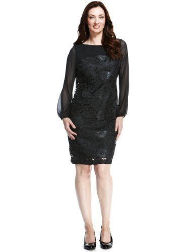 M&S Collection Floral Appliqué Lace Tunic Dress - style: tunic; neckline: slash/boat neckline; predominant colour: black; occasions: evening, occasion; length: just above the knee; fit: straight cut; fibres: polyester/polyamide - 100%; sleeve length: long sleeve; sleeve style: standard; texture group: lace; pattern type: fabric; pattern size: standard; pattern: patterned/print; season: a/w 2013