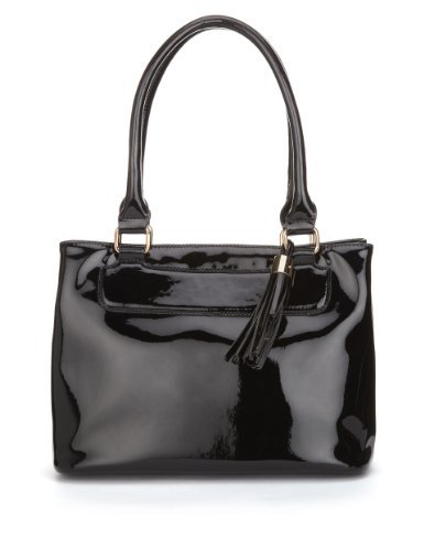 M&S Collection Patent Tassel Tote Bag - predominant colour: black; occasions: casual, work; style: tote; length: shoulder (tucks under arm); size: standard; material: faux leather; pattern: plain; finish: patent; season: a/w 2013