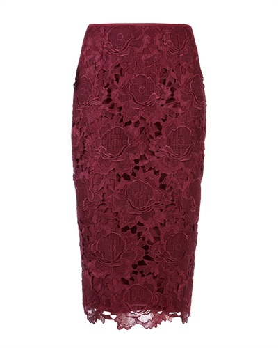 Ted Baker Novaas Lace Skirt - style: pencil; fit: tailored/fitted; waist: mid/regular rise; predominant colour: burgundy; occasions: casual, evening, creative work; length: on the knee; fibres: polyester/polyamide - 100%; texture group: lace; pattern type: fabric; pattern: patterned/print; season: s/s 2013