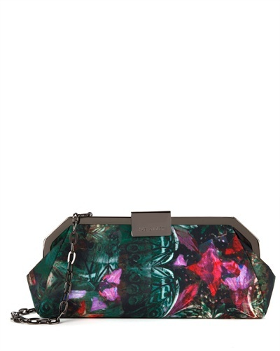 Ted Baker Mejia Printed Clutch Bag - predominant colour: dark green; occasions: evening, occasion; type of pattern: standard; style: clutch; length: hand carry; size: small; material: fabric; finish: metallic; pattern: patterned/print; trends: broody brights; secondary colour: raspberry; season: s/s 2013