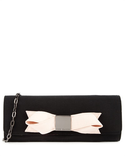 Ted Baker Bowla Satin Bow Clutch - secondary colour: blush; predominant colour: black; occasions: evening, occasion; type of pattern: standard; style: clutch; length: hand carry; size: small; material: satin; pattern: plain; finish: plain; embellishment: bow; season: s/s 2013