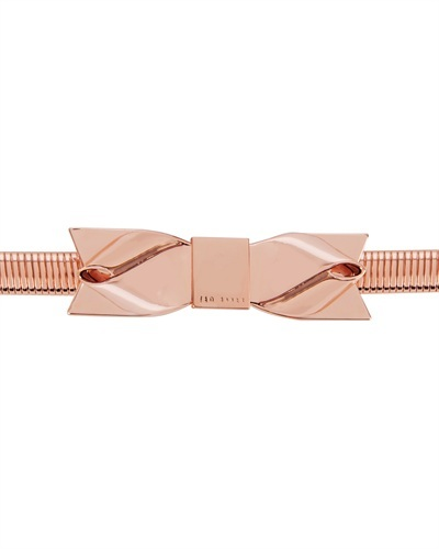 Ted Baker Metie Bow Belt - predominant colour: bronze; occasions: casual, evening, work, occasion, creative work; style: chainlink; size: skinny; worn on: waist; material: chain/metal; pattern: plain; finish: metallic; embellishment: bow; season: s/s 2013