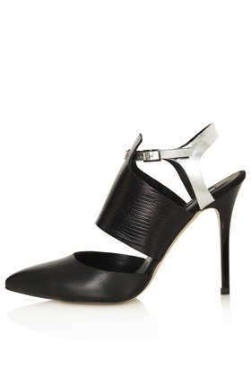 Gone Panel Pointed Heels - secondary colour: silver; predominant colour: black; occasions: evening, work, occasion; material: leather; ankle detail: ankle strap; heel: stiletto; toe: pointed toe; style: slingbacks; finish: plain; pattern: colourblock; heel height: very high; season: s/s 2013