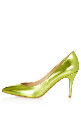 Gene Pointed Court Shoes - predominant colour: yellow; occasions: evening, occasion; material: leather; heel height: high; heel: stiletto; toe: pointed toe; style: courts; finish: metallic; pattern: plain; season: s/s 2013