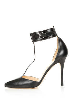 Goslin T Bar Points - predominant colour: black; occasions: evening, work, occasion; material: leather; heel height: high; embellishment: buckles; ankle detail: ankle strap; heel: stiletto; toe: pointed toe; style: t-bar; finish: plain; pattern: plain; trends: 1940's hitchcock heroines, gothic romance; season: s/s 2013
