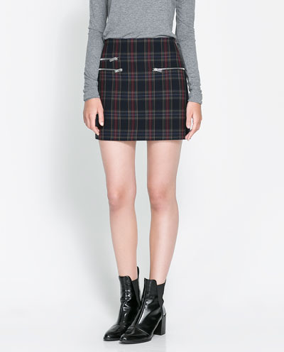 Checked Mini Skirt - length: mini; pattern: tartan; fit: body skimming; hip detail: front pockets at hip; waist: mid/regular rise; secondary colour: burgundy; predominant colour: black; occasions: casual, evening, work; style: mini skirt; fibres: polyester/polyamide - stretch; pattern type: fabric; texture group: other - light to midweight; season: s/s 2013; pattern size: standard (bottom); wardrobe: highlight
