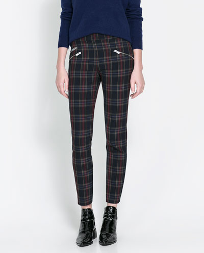Checkered Skinny Trousers With Zip - pattern: checked/gingham; style: leggings; waist: mid/regular rise; predominant colour: navy; secondary colour: chocolate brown; occasions: casual, evening, work; length: ankle length; fibres: polyester/polyamide - stretch; fit: skinny/tight leg; pattern type: fabric; texture group: woven light midweight; trends: gorgeous grunge; season: s/s 2013; pattern size: light/subtle (bottom)