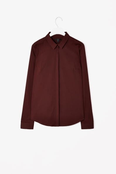 Slim Fit Shirt - neckline: shirt collar/peter pan/zip with opening; pattern: plain; style: shirt; predominant colour: burgundy; occasions: casual, evening, work; length: standard; fibres: cotton - stretch; fit: straight cut; sleeve length: long sleeve; sleeve style: standard; texture group: cotton feel fabrics; pattern type: fabric; trends: gothic romance, broody brights; season: s/s 2013