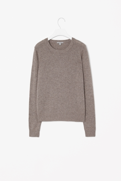 Cashmere Jumper - pattern: plain; style: standard; predominant colour: taupe; occasions: casual, work; length: standard; fit: standard fit; neckline: crew; fibres: cashmere - 100%; sleeve length: long sleeve; sleeve style: standard; texture group: knits/crochet; pattern type: knitted - other; season: s/s 2013
