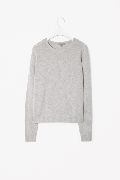 Cashmere Jumper - pattern: plain; style: standard; predominant colour: light grey; occasions: casual, work; length: standard; fit: standard fit; neckline: crew; fibres: cashmere - 100%; sleeve length: long sleeve; sleeve style: standard; texture group: knits/crochet; pattern type: knitted - other; season: s/s 2013