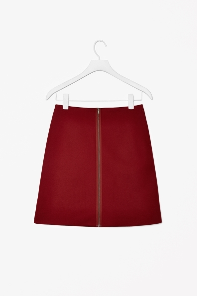 A Line Wool Mix Skirt - length: mini; pattern: plain; fit: loose/voluminous; waist: mid/regular rise; predominant colour: burgundy; occasions: casual, evening, work; style: a-line; fibres: wool - mix; pattern type: fabric; texture group: woven light midweight; trends: broody brights; season: s/s 2013