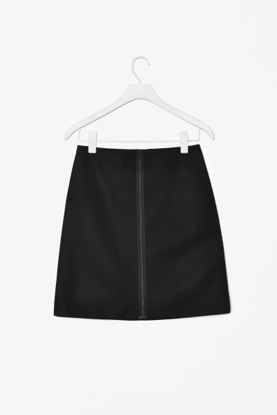 A Line Wool Mix Skirt - length: mini; pattern: plain; fit: loose/voluminous; waist: mid/regular rise; predominant colour: black; occasions: casual, evening, work; style: a-line; fibres: wool - mix; pattern type: fabric; texture group: woven light midweight; season: s/s 2013