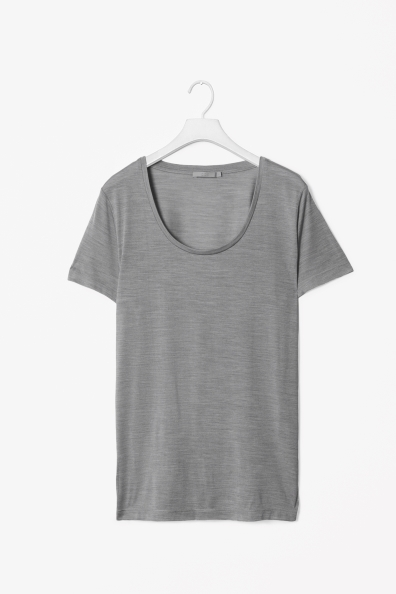 Silk Melange T Shirt - pattern: plain; style: t-shirt; predominant colour: mid grey; occasions: casual, work; length: standard; neckline: scoop; fibres: silk - 100%; fit: straight cut; sleeve length: short sleeve; sleeve style: standard; pattern type: fabric; texture group: jersey - stretchy/drapey; season: s/s 2013