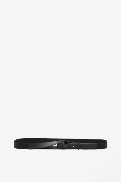 Leather Loop Belt - predominant colour: black; occasions: casual, evening, work; type of pattern: standard; style: classic; size: skinny; worn on: waist; material: leather; pattern: plain; finish: plain; season: s/s 2013