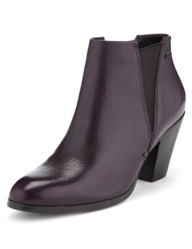Autograph Leather Boots With Insolia® - predominant colour: aubergine; occasions: casual; material: leather; heel height: mid; heel: block; toe: pointed toe; boot length: ankle boot; style: standard; finish: plain; pattern: plain; trends: broody brights; season: a/w 2013