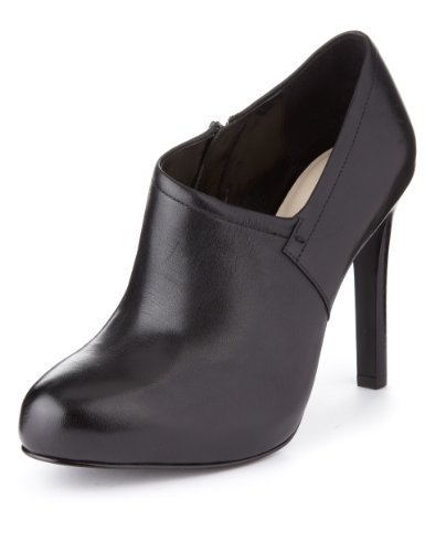 Autograph Leather Wide Fit Platform Zip Shoe Boots With Insolia® - predominant colour: black; occasions: casual, work; material: leather; heel: stiletto; toe: round toe; boot length: shoe boot; style: standard; finish: plain; pattern: plain; heel height: very high; shoe detail: platform; season: a/w 2013