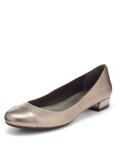 M&S Collection Leather Toe Cap Pumps - predominant colour: champagne; occasions: casual, work; material: leather; heel height: flat; toe: round toe; style: ballerinas / pumps; finish: metallic; pattern: plain; season: a/w 2013