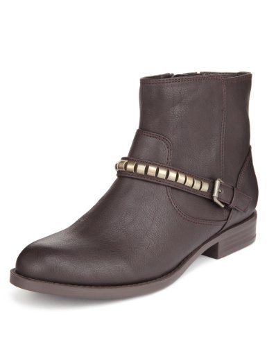 M&S Collection Metal Trim Biker Ankle Boots With Insolia® - predominant colour: chocolate brown; occasions: casual; material: leather; heel height: mid; embellishment: studs; heel: block; toe: round toe; boot length: ankle boot; style: biker boot; finish: plain; pattern: plain; trends: gorgeous grunge; season: a/w 2013