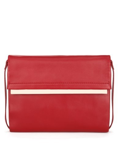 Autograph Leather Clutch Bag - predominant colour: true red; secondary colour: gold; occasions: evening, occasion; type of pattern: standard; style: clutch; length: hand carry; size: standard; material: leather; pattern: plain; finish: plain; season: a/w 2013