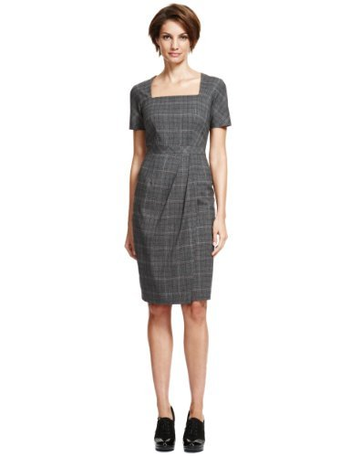 M&S Collection Square Neck Checked Dress - style: shift; fit: tailored/fitted; pattern: checked/gingham; waist detail: flattering waist detail; predominant colour: charcoal; secondary colour: mid grey; occasions: work; length: just above the knee; fibres: polyester/polyamide - stretch; sleeve length: short sleeve; sleeve style: standard; texture group: cotton feel fabrics; neckline: medium square neck; pattern type: fabric; pattern size: standard; season: a/w 2013