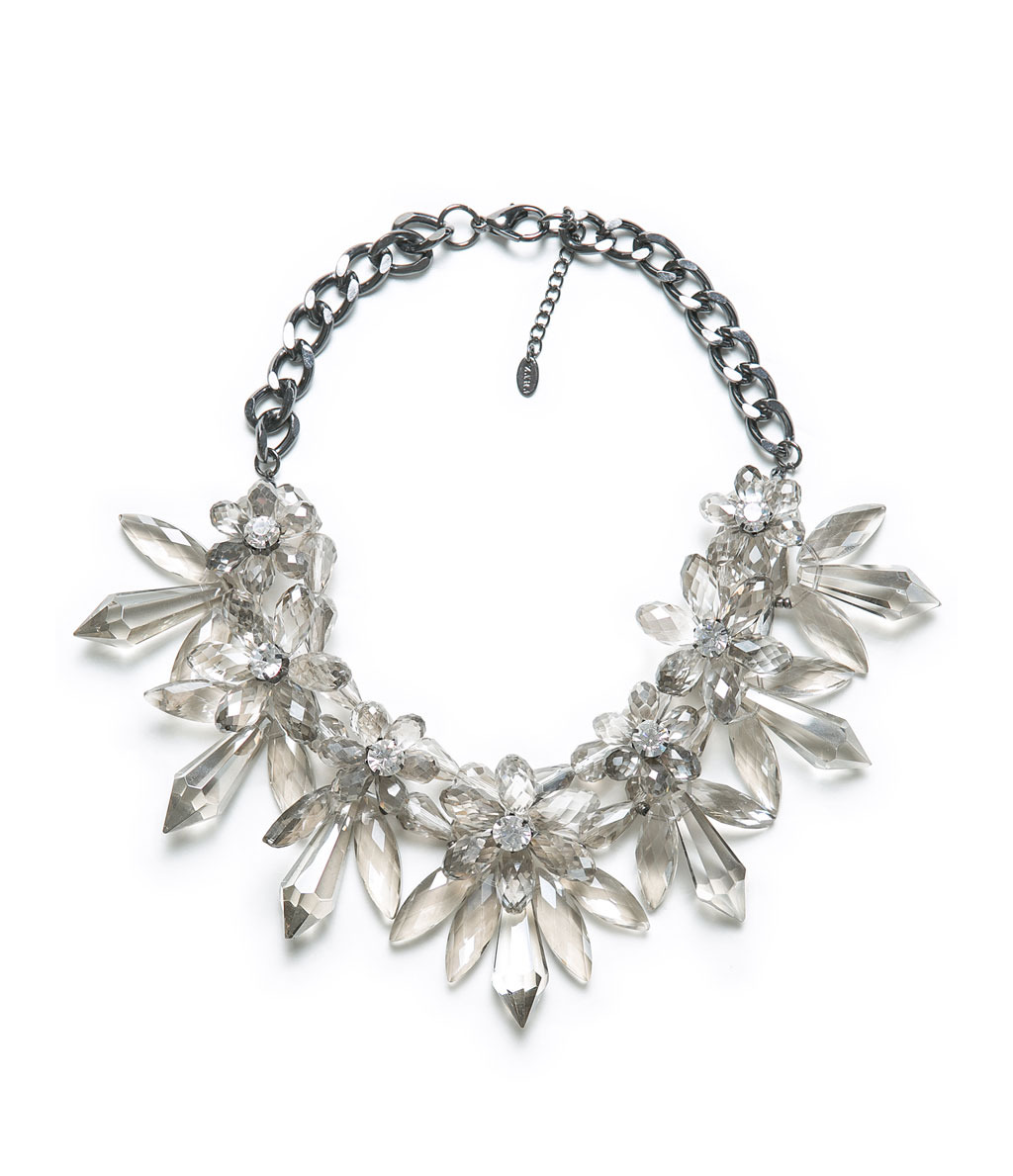 Stones And Flower Necklace - predominant colour: stone; occasions: casual, evening, occasion, holiday; length: short; size: large/oversized; material: plastic/rubber; finish: metallic; embellishment: crystals/glass; style: bib/statement; season: a/w 2013