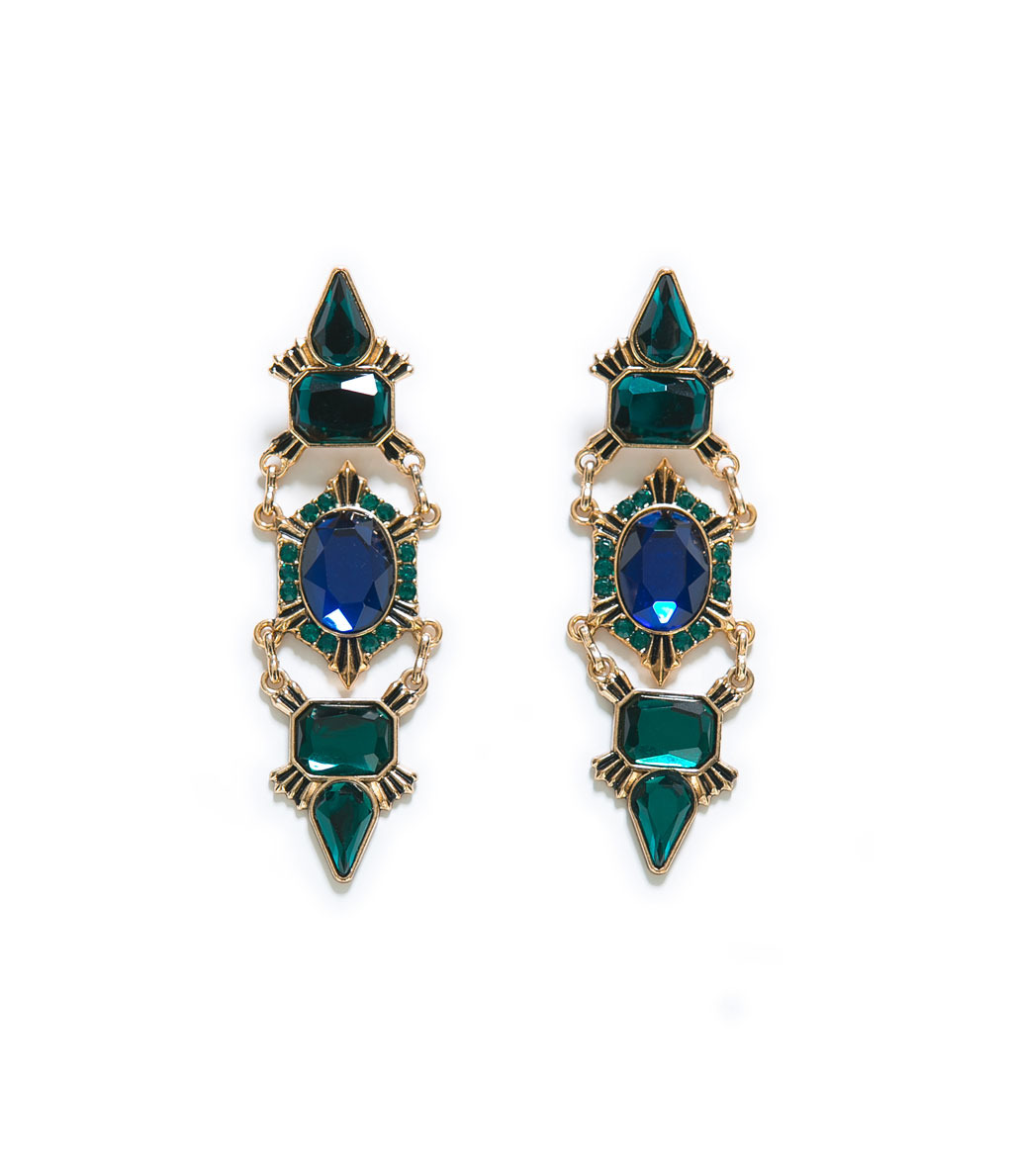 Crystal Earrings - secondary colour: royal blue; predominant colour: dark green; occasions: evening, occasion; style: drop; length: long; size: large/oversized; material: chain/metal; fastening: pierced; finish: metallic; embellishment: jewels/stone; trends: excess embellishment, broody brights; season: a/w 2013
