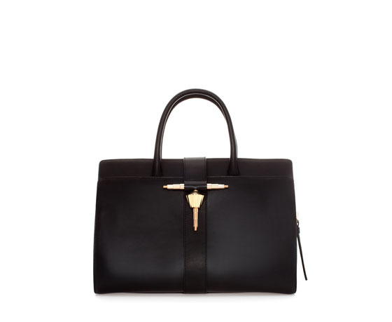 Leather Bag With Metal Tab - predominant colour: black; occasions: casual, creative work; type of pattern: standard; style: tote; length: handle; size: oversized; material: leather; pattern: plain; finish: plain; embellishment: chain/metal; season: a/w 2013