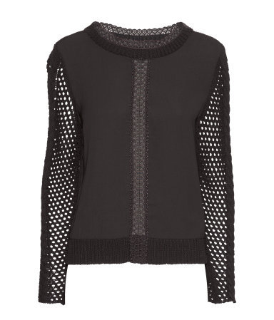 Knitted Jumper - neckline: round neck; pattern: plain; style: standard; predominant colour: black; occasions: casual, work; length: standard; fibres: cotton - 100%; fit: standard fit; sleeve length: long sleeve; sleeve style: standard; texture group: knits/crochet; pattern type: fabric; season: a/w 2013