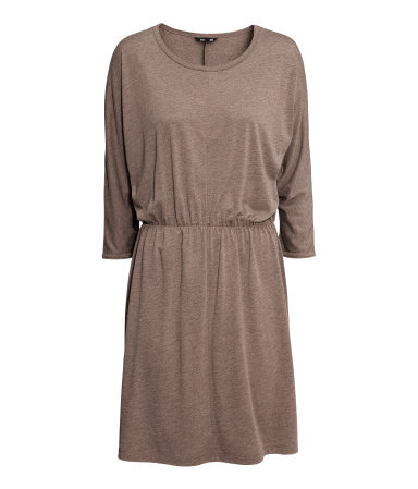 Short Jersey Dress - neckline: round neck; sleeve style: dolman/batwing; fit: loose; pattern: plain; style: blouson; waist detail: fitted waist; predominant colour: camel; occasions: casual, evening; length: just above the knee; fibres: viscose/rayon - 100%; sleeve length: 3/4 length; pattern type: fabric; texture group: jersey - stretchy/drapey; season: a/w 2013