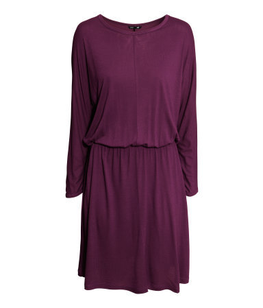 Short Jersey Dress - length: mid thigh; neckline: round neck; sleeve style: dolman/batwing; fit: loose; pattern: plain; style: blouson; waist detail: fitted waist; predominant colour: purple; occasions: casual, evening; fibres: viscose/rayon - 100%; hip detail: soft pleats at hip/draping at hip/flared at hip; sleeve length: 3/4 length; pattern type: fabric; texture group: jersey - stretchy/drapey; trends: boden brights; season: a/w 2013