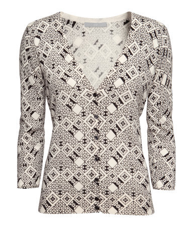 Fine Knit Cardigan - neckline: low v-neck; secondary colour: white; predominant colour: black; occasions: casual, work; length: standard; style: standard; fibres: cotton - mix; fit: slim fit; sleeve length: 3/4 length; sleeve style: standard; texture group: knits/crochet; pattern type: knitted - fine stitch; pattern size: standard; pattern: patterned/print; season: a/w 2013; trends: monochrome