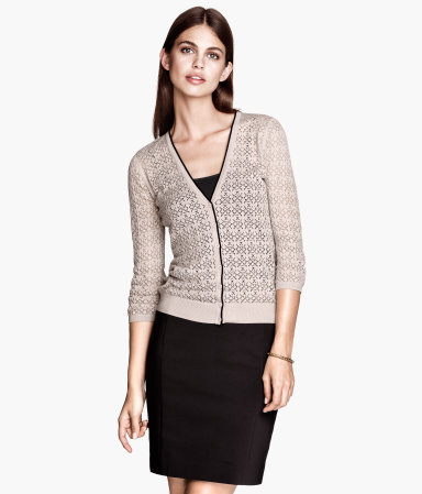 Fine Knit Cardigan - neckline: low v-neck; pattern: plain; predominant colour: stone; secondary colour: black; occasions: casual, work; length: standard; style: standard; fibres: cotton - mix; fit: slim fit; sleeve length: 3/4 length; sleeve style: standard; texture group: knits/crochet; pattern type: knitted - fine stitch; season: a/w 2013