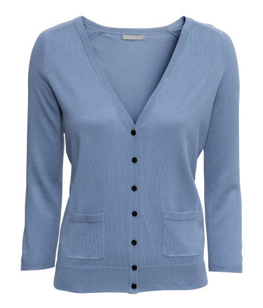 Fine Knit Cardigan - neckline: low v-neck; pattern: plain; predominant colour: denim; occasions: casual, work; length: standard; style: standard; fibres: cotton - mix; fit: slim fit; sleeve length: 3/4 length; sleeve style: standard; texture group: knits/crochet; pattern type: knitted - fine stitch; season: a/w 2013