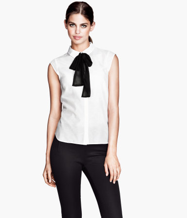Silk Blouse - sleeve style: capped; pattern: plain; neckline: pussy bow; style: blouse; predominant colour: white; secondary colour: black; occasions: casual, evening, work; length: standard; fibres: cotton - mix; fit: straight cut; sleeve length: short sleeve; texture group: cotton feel fabrics; pattern type: fabric; pattern size: standard; trends: 1940's hitchcock heroines; season: a/w 2013