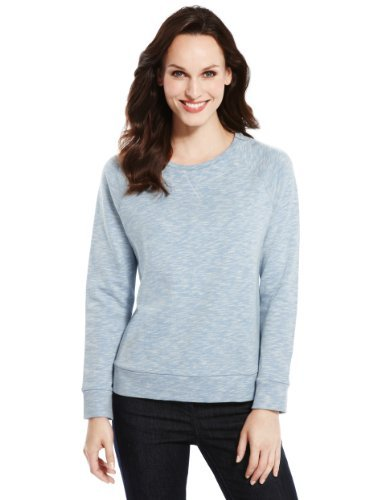 M&S Collection Pure Cotton Marl Sweat Top - neckline: round neck; pattern: plain; style: sweat top; predominant colour: light grey; occasions: casual, work, creative work; length: standard; fibres: cotton - 100%; fit: straight cut; sleeve length: long sleeve; sleeve style: standard; pattern type: fabric; pattern size: standard; texture group: other - light to midweight; season: a/w 2013