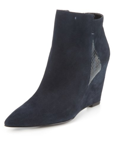 Autograph Suede Pointed Toe Wedge Boots With Insolia® - predominant colour: navy; occasions: casual, work; material: suede; heel height: high; heel: wedge; toe: pointed toe; boot length: ankle boot; style: standard; finish: plain; pattern: plain; season: a/w 2013