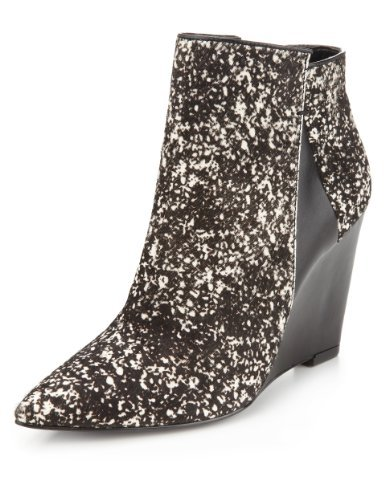 Autograph Ponyskin Pointed Toe Wedge Ankle Boots With Insolia® - predominant colour: black; occasions: casual, creative work; material: animal skin; heel height: high; heel: wedge; toe: pointed toe; boot length: ankle boot; style: standard; finish: plain; pattern: patterned/print; season: a/w 2013; multicoloured: multicoloured