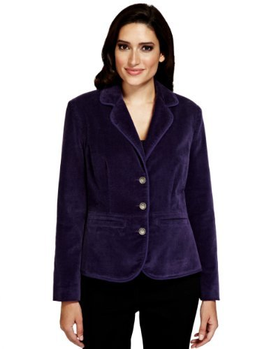 Per Una Cotton Rich 3 Button Velvet Blazer - pattern: plain; style: single breasted blazer; collar: standard lapel/rever collar; predominant colour: aubergine; occasions: casual, evening; length: standard; fit: tailored/fitted; fibres: cotton - stretch; sleeve length: long sleeve; sleeve style: standard; collar break: medium; pattern type: fabric; texture group: velvet/fabrics with pile; trends: gothic romance; season: a/w 2013