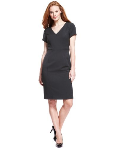 M&S Collection Angled Seam Dress - style: shift; neckline: low v-neck; fit: tailored/fitted; pattern: plain; predominant colour: charcoal; occasions: evening, work, occasion; length: just above the knee; fibres: polyester/polyamide - stretch; sleeve length: short sleeve; sleeve style: standard; pattern type: fabric; texture group: other - light to midweight; trends: 1940's hitchcock heroines; season: a/w 2013