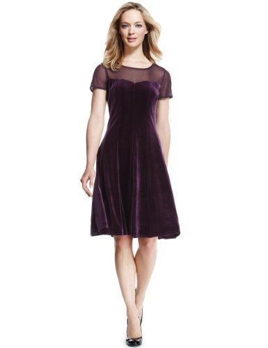 M&S Collection Chiffon & Velour Skater Dress - neckline: round neck; pattern: plain; style: prom dress; shoulder detail: contrast pattern/fabric at shoulder; predominant colour: aubergine; occasions: evening, occasion; length: on the knee; fit: fitted at waist & bust; fibres: polyester/polyamide - stretch; hip detail: soft pleats at hip/draping at hip/flared at hip; sleeve length: short sleeve; sleeve style: standard; pattern type: fabric; texture group: velvet/fabrics with pile; trends: gothic romance; season: a/w 2013
