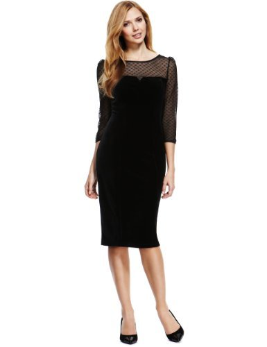M&S Collection 3/4 Sleeve Mesh Yoke Velour Dress - style: shift; length: below the knee; neckline: slash/boat neckline; fit: tailored/fitted; pattern: plain; bust detail: sheer at bust; shoulder detail: contrast pattern/fabric at shoulder; predominant colour: black; occasions: evening, occasion; fibres: polyester/polyamide - stretch; back detail: sheer fabric at back; sleeve length: 3/4 length; sleeve style: standard; pattern type: fabric; texture group: velvet/fabrics with pile; trends: 1940's hitchcock heroines; season: a/w 2013