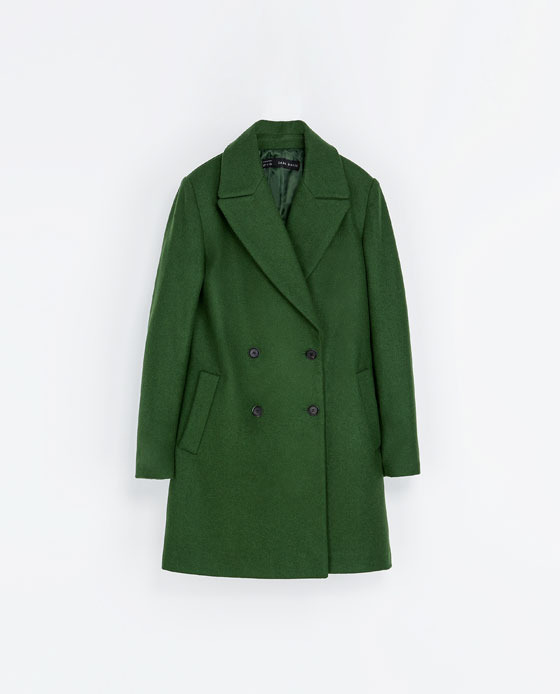 Wool Button Down Coat - pattern: plain; collar: wide lapels; fit: loose; style: double breasted; length: mid thigh; predominant colour: dark green; occasions: casual, evening, work; fibres: wool - mix; sleeve length: long sleeve; sleeve style: standard; collar break: medium; pattern type: fabric; texture group: woven bulky/heavy; trends: oversized structure, masculine feminine, broody brights; season: a/w 2013